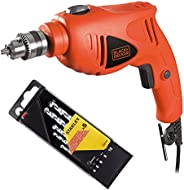Black+Decker 480W 10mm Single Speed Hammer Drill with 5 Pieces Piranha High Performance Masonry Drill Bits for