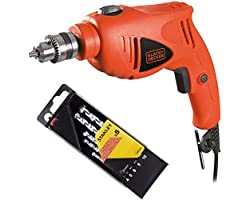 Black+Decker 480W 10mm Single Speed Hammer Drill with 5 Pieces Piranha High Performance Masonry Drill Bits for Wood, Metal, S