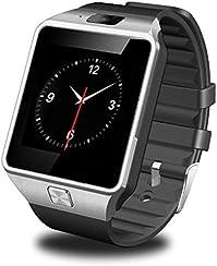 GSTEK Smartwatch Bluetooth 1,56 Pollici Touch Screen Supporto SIM & TF, Unisex Orologio Intelligente con Macchina Fotografica Pedometro per Sony / Samsung Tutti i Telefoni Android - Argento