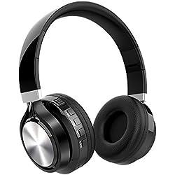 Casque Bluetooth Fonction 4-en-1, NickSea Casque Pliable, Microphone Intégré, Bluetooth, Radio, Carte de Mémoire, Hi-FI Audio, Compatible avec iPhone, iPad, Mac, PC, Bon Cadeau pour Saint-Valentin