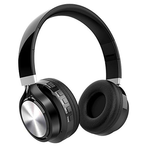 Nicksea Bluetooth Kopfhörer Over Ear Headset Faltbare 4 in 1 Funktion Stereo Ohrhörer mit Integrierter Musiksteuerung und Mikrofon Kompatibel mit Apple und Android Geräten Schwarz