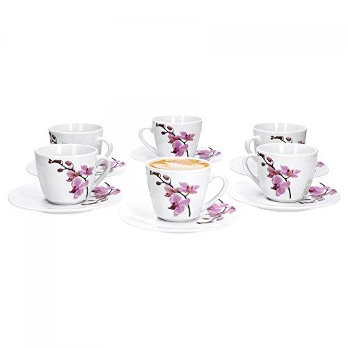 Van Well 6er Set, 2-tlg. Kaffeetassen-Set Kyoto, kleine Tasse 180 ml + Untertasse, edles Porzellan,...
