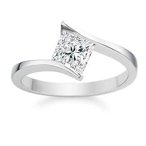 Diamond Manufacturers - Bague de fiancailles avec diamant Princesse Femme - Or blanc 750/1000 (18 cts) - Diamant 0.30 ct