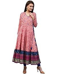 Jaipur Kurti Women's Cotton Angrakha Style Embroidered Long Kurta With Gold Print Tassels & Border Printed Hem...