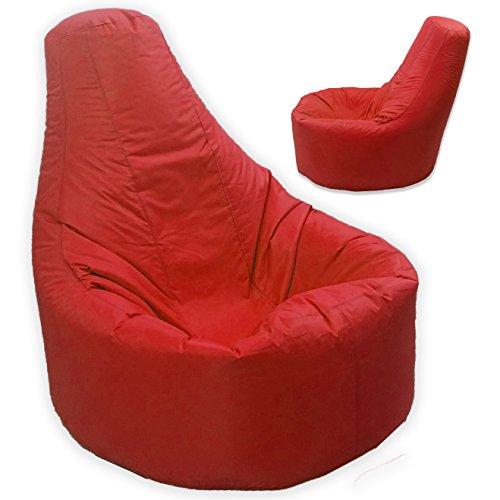 Grand pouf d'extérieur et intérieur Gamer inclinable pour adulte Rouge Taille XXL Gaming Pouf-fauteuil d'Eau et résiste aux intempéries)