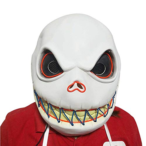 Halloween Scream Mask Leuchtende Maske Weinen Maske Kopfschmuck Neuheit Latex Maske Cosplay Dance Party Lustiges Geschenk Dress Up Requisiten,White-OneSize (Party Ideen Für Eine Up Dress)
