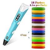Lovebay 3D Drucker Stift DIY Scribbler 3D Stereoscopic Printing Pen mit LCD-Bildschirm + 3 X 1,75 mm PLA Filament Blau Weiß Grüne,insgesamt 9M || für Kinder Anfänger Erwachsene Zeichnung