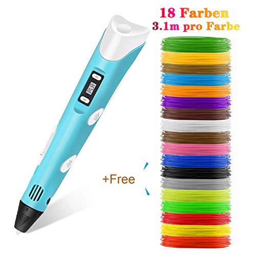 Lovebay 3D Drucker Stift DIY Scribbler 3D Stereoscopic Printing Pen mit LCD-Bildschirm + 3 X ⌀1,75 mm PLA Filament Blau Weiß Grüne,insgesamt 9M    für Kinder Anfänger Erwachsene Zeichnung
