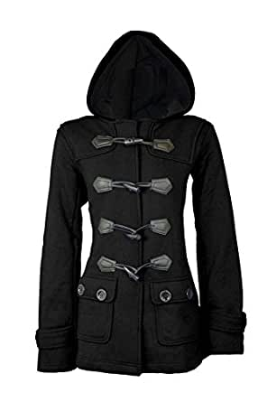 Catch One New Ladies Womens Hood Duffle Trench Hooded Pocket Coat Jacket Plus Sizes Black 8