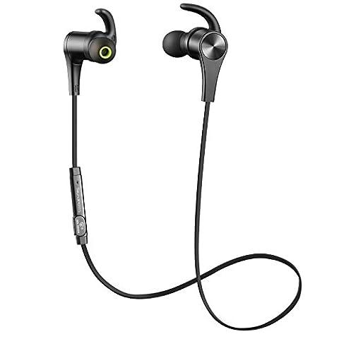 SoundPEATS Ecouteur Bluetooth Sport, casque sans fil pour jogging, mains libres, la technologie aptX, oreillette magnétique compatible pour tout les appareils bluetooth (Q12 Noir)