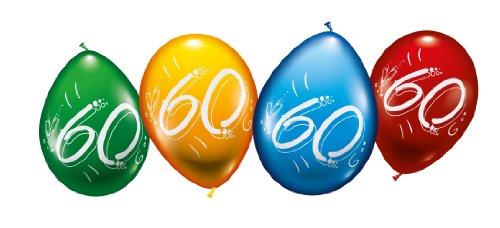 Karaloon 30015 Globos para el Aniversario o Cumpleaños con el Número 60, Colores Surtidos
