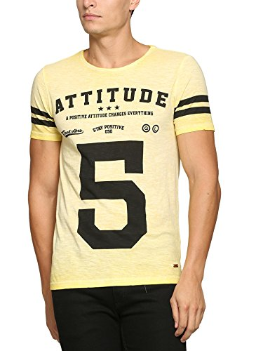 abof Men Light Yellow Printed CPD Regular Fit T-shirt  available at amazon for Rs.207