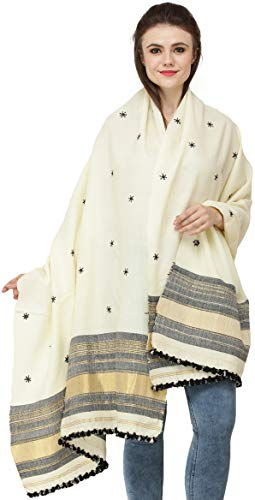 2c42b38274108b Exotic India Shawl from Kutch with Embroidered Bootis and Golden Woven  Border - Color Afterglow Color