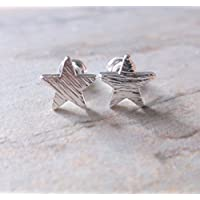 Silver Plate Star Stud Earrings, Gifts for Her