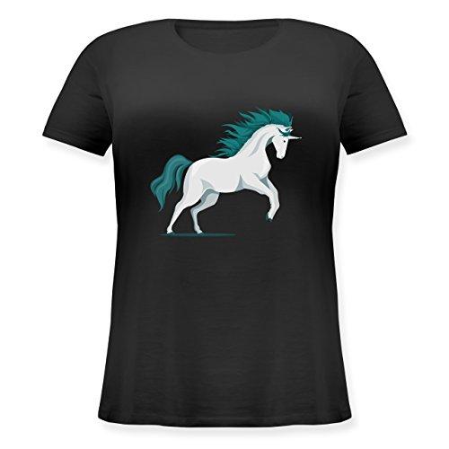 Pferde steigendes Einhorn Lockeres DamenShirt in großen Größen mit Rundhalsausschnitt  Schwarz