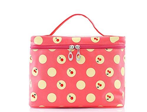 SAMGU Filles Cerise Pois Motif Big Voyage Maquillage Cosmetic Bag de Toilette Trousse de Toilette Couleur Rouge pastèque