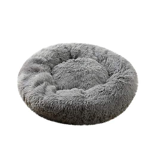 Morran Country Chic Runde haustierbett gemütlich warm weiche Hundehütte haustiermatte Sofa innen bequem Hundehütte Katzenbett(Grau,XL)