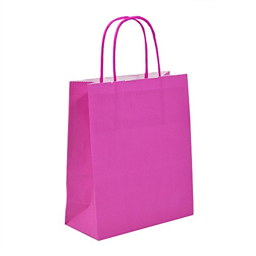 25x pink Papier Geschenk Papiertragetasche mit gedrehten Griffen, 18cm x 22cm x 8cm Unipack Marke-unibags