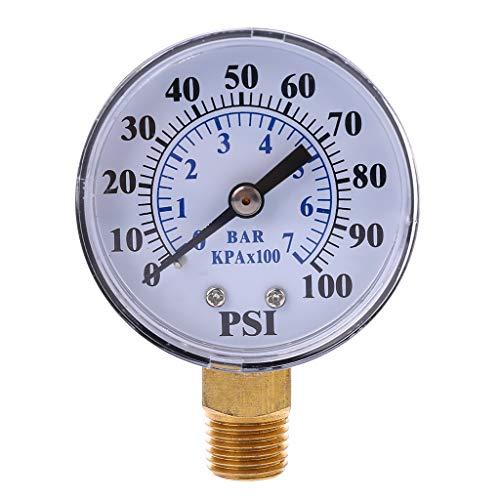 FangWWW Brunnenpumpe Manometer 1/4 Zoll NPT Gewinde 0-100 PSI 0-7 bar Wasserluft Gasdruckmessgerät