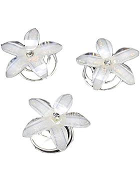 12 Stück Curlies Haarschmuck Blume Strass Perlen Hochzeit Kommunion Braut Taufe