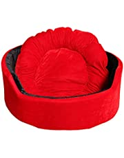 Jerry's Pet Products Super Soft Dual Round Dog/Cat Bed - Small (Red-Black)