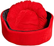 Jerry's Pet Products Super Soft Dual Round Dog/Cat Bed - Small (Red-Bl