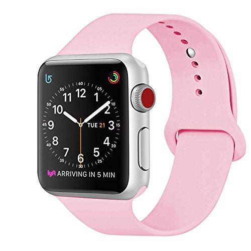 ZRO für Apple Watch Armband, Soft Silikon Ersatz Uhrenarmbänder für 42mm iWatch Serie 3/ Serie 2/ Serie 1, Größe S/M, Rosa