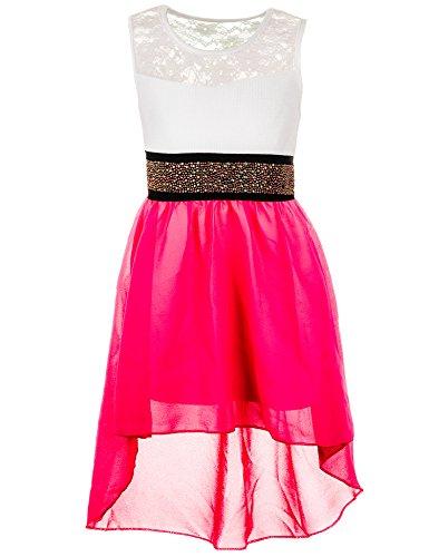 Festliches Sommerkleid in vielen Farben #361npi Neon Pink Gr. 12 / 140 / 146 (Sommerkleid Kinder)