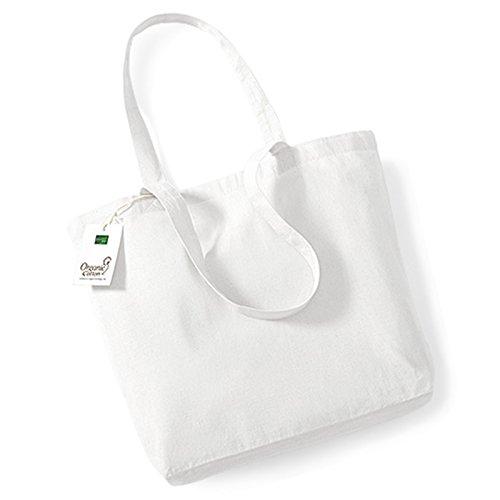 Westford Mill borsa shopper in cotone organico, lunghezza manico 58cm 100% cotone organico, Cotone, White, taglia unica