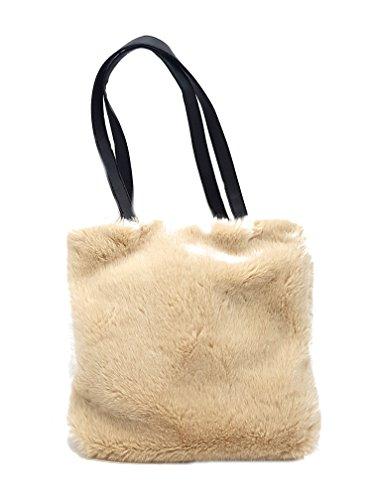 Borsa da donna grande con manico corto a mano in pelliccia sintetica colore beige con chiusura a clip