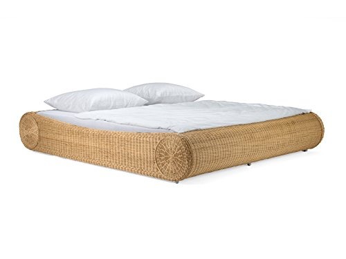 massivum Bett Ronda 140x200cm Rattan braun lackiert