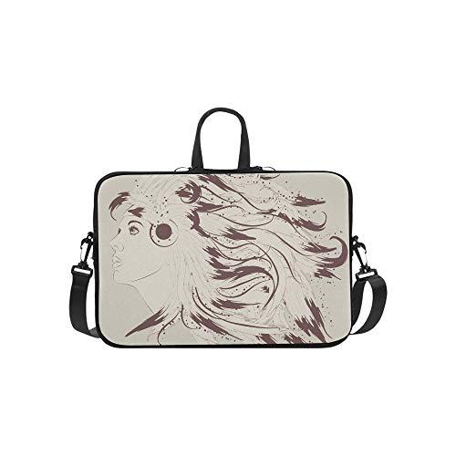 Mädchen mit Kopfschmuck aus Federn Muster Aktentasche Laptoptasche Messenger Schulter Arbeitstasche Crossbody Handtasche für Geschäftsreisen