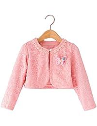 FEOYA - Ropa Chaqueta para Bebé Niña para Otoño Ropa Princesa con Diseño Mariposa - Blanco Amarillo Rosa - Talla L XL XXL ( ES 2 años 3 años 4años)