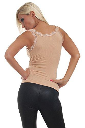 Fashion4Young 5645 pour femme en tissu stretch en dentelle disponible en 2 tailles 9 couleurs Beige - Beige