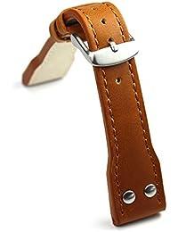 Planeador 20mm piel banda de pulsera Relojes banda Pilot Aviator Style banda extra fuerte Genuine piel color marrón claro