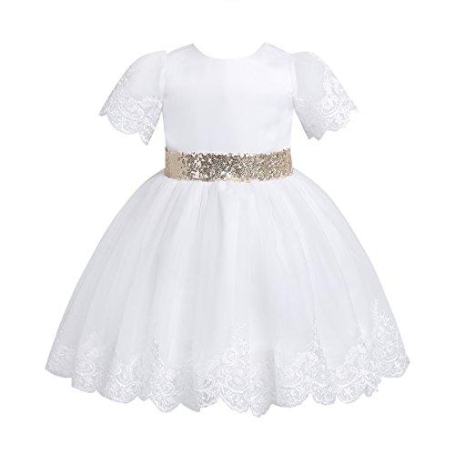 TiaoBug Baby Mädchen Prinzessin Kleid Blumenmädchenkleid Taufkleid Festlich Kleid Hochzeit Geburtstag Partykleid Festzug Babybekleidung Outfits Weiß 86-92/18-24 Monate