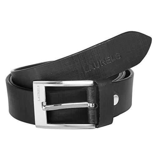 Laurels Men's Genuine Leather Belt (LB-EG-02_Black)