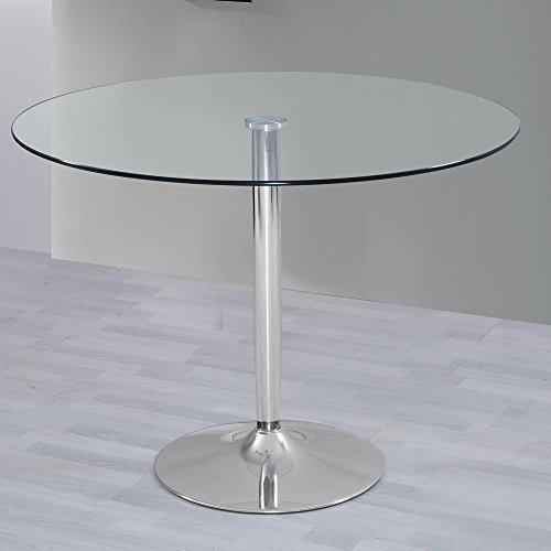 HOGAR24 ES Mesa de Salon Comedor Cocina Redonda de Cristal y Base de Metal Cromado