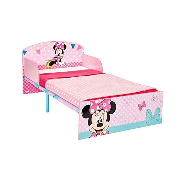 Disney Minnie Mouse Kids Toddler Bed by HelloHome  Sleep sweetly with this Minnie Mouse Toddler Bed Perfect size for toddlers, low to the ground with protective and sturdy side guards to keep your little one safe and snug Fits a standard cot bed mattress size 140cm x 70cm, mattress not included. Part of the Minnie Mouse bedroom furniture range from Hello Home 1