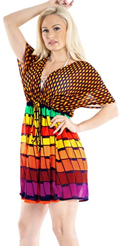 trandkleid Damen Kurze Kleid Badeanzug Bikini Cover Up Damen Bikini Cover up Strandkleid Strandponcho Sommer Strand Tunika Pareos Orange_Y673 ()
