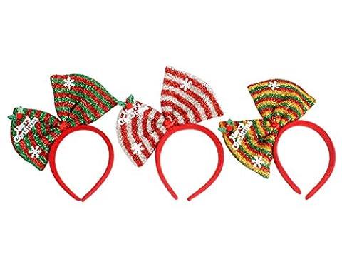 Weihnachtsstirnband, Fascigirl 3Stk Weihnachten Zubehör Verschiedene Farbe Bogen Haar Reifen für Weihnachten Party