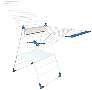 Herby 3050 Séchoir à Poser Semi-Automatique 28 mètres MULTI ACCESSOIRES Acier Thermoplastifié/Thermolaqué Blanc/Bleu