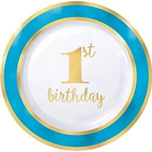 Amscan International 430620 - Vajilla de Papel, Placa de plástico, 26 cm, Primer cumpleaños, Bluebrdr