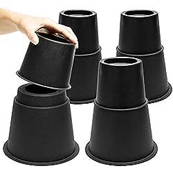 MOVEONSTEP Rehausseurs de Lit Rehausseurs de Meubles, Bed Riser Réglables de 3 Hauteurs Différentes (Noir)