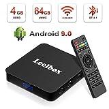 Leelbox TV Box Android 9.0【4GB+64GB】Q4 PLUS Boîtier TV Quad Core 64 bit Android Box Wi-Fi integrato/BT 4.1/ Box TV UHD 4K TV/USB 3.0 Media Player, Android Set-top-Box [2019 Dernière Version]