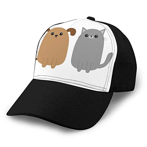 Men's Cotton Classic Baseball Cap Adjustable Sports Golf Cap Cartoon Dog cat Puppy Kitten Mustache Whisker Tail Funny Smiling pet Flat Design White -