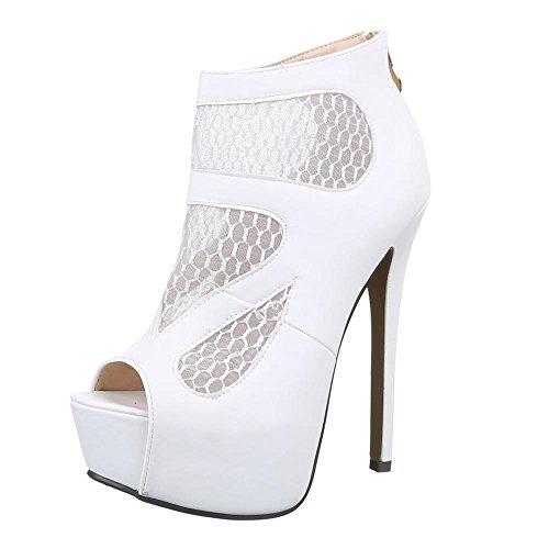 Damen Schuhe, QJ15347, PUMPS HIGH HEELS PLATEAU SANDALETTEN Weiß
