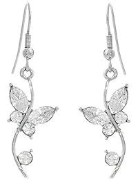 Glamorousky Schmetterling Im Blumenohrringe Mit Silber Austrian Elements -Kristallen Und Kristallglas (1329)