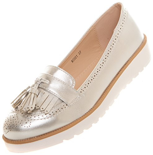 CAPRIUM CAPRIUM Moderne Schuhe Espadrilles Sandalen Mokassin Fransen Netzschuhe Halbschuhe, Damen 000M2001 (36, Silber)