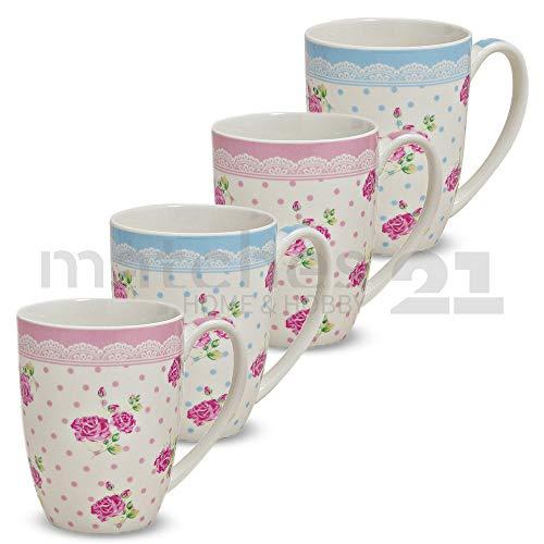 matches21 Becher Tassen Kaffeetassen Kaffeebecher Rosen mit Borte rosa / hellblau Porzellan 4er Set...